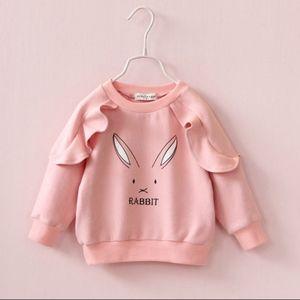 Girls Cotton Crewneck Cute Ruffle Pink Sweatshirts